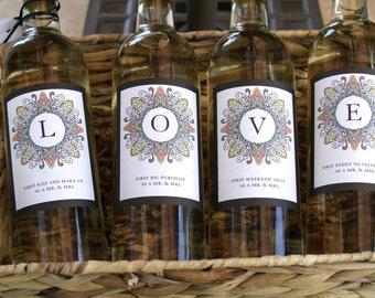 SUPER SALE...Printed and shipped set of 4 color burst LOVE Wine bottle lables for bridal shower or wedding gifts