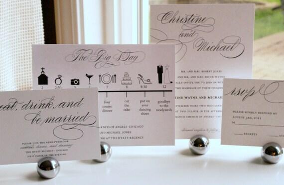 Wedding Timeline Invitations: Items Similar To Custom Sweet Script Wedding Invitation 4