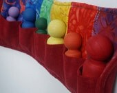 Little Wooden People Set with case - Rainbow  People red case