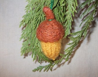 Knit acorn, felted wool acorn ornament, ready to ship!