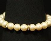 Gold Pearl Jewelry, Cream Pearl Wedding Bracelet, Art Deco Jewelry, Bridesmaids Gift, Rhinestone Pearl Bracelet -- LUXE