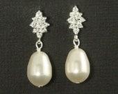 Bridal Stud Earrings -- Pearl Bridal Earrings, Art Deco Wedding Jewelry, Cubic Zirconia Posts, Studs, Vintage Pearl Earrings -- DIAMOND LUXE