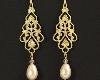 Long Filigree Chandelier Earrings, Gold Pearl Chandelier Bridal Earrings, Wedding Jewelry, Swarovski Crystal Pearl Jewelry - PARFAIT
