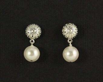 Bridesmaid Pearl Earrings --  Pearl Studs, Bridesmaids, Bridal Party Jewelry, Silver Filigree Earrings, Custom Color Pearls -- SAVANNAH