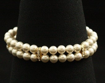 Pearl Bridal Bracelet Double Strand Pearl Bracelet Bridal Jewelry Rhinestone Pearl Gold Art Deco Two Strand --VENICE