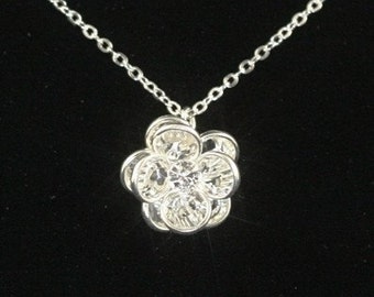 Crystal Bridal Necklace, Sterling Silver Wedding Jewelry,  Swarovski Crystal Bridal Rose Necklace -- ROSE