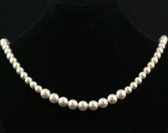 Pearl Necklace, Pearl Bridal Necklace, Pearl Wedding Jewelry, White Ivory Pearl Wedding Necklace, Bridesmaids Necklace, Strand -- SAVANNAH