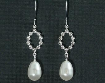 Crystal Pearl Drop Earrings, Wedding Jewelry, Rhinestone Bridesmaid Earrings, Bridal Drop Pearl Earrings -- CLAIRE II