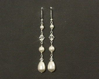 Long Pearl Bridal Earrings -- Swarovski Crystals, Pearls Handwrapped in Silver, Delicate, Feminine, Linear, Dangles -- FALLING IN LOVE