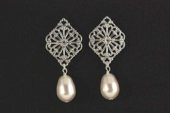 Trellis Earrings -- Silver Filigree and Swarovski Crystal Pearl