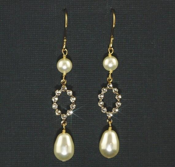 Claire Bridal Earrings -- Gold, Swarovski Crystal Rhinestone  and Pearl Dangles