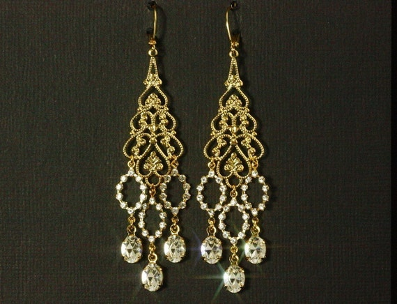 Long Chandelier Earrings Gold Filigree And Swarovski
