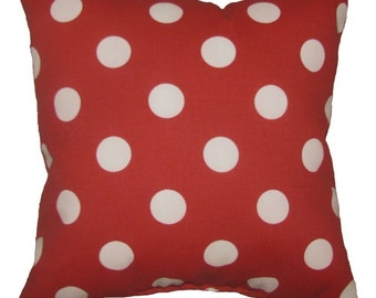 Polka Dot Red and White Outdoor Decorative Pillow - Red Outdoor Throw Pillow Free Shipping