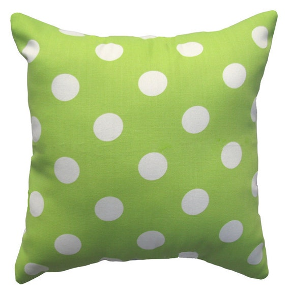 Lime Green Throw Pillow - Polka Dot Lime and White Outdoor Decorative Pillow Free Shipping