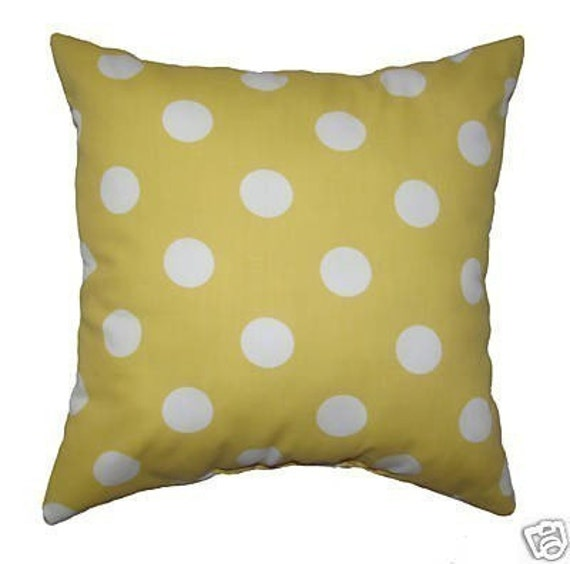 Yellow Throw Pillow - Polka Dot Yellow and White Outdoor Square or Lumbar Decorative Pillow Free Shipping