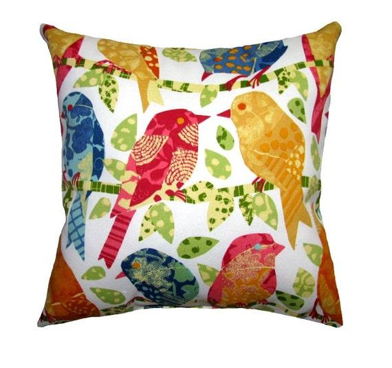 Bird Outdoor STUFFED Throw Pillow, Ash Hill Garden Throw Pillow, Designer Outdoor Cushion, Yellow Orange Coral Blue Green Pillow Free Ship