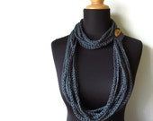 Eco Friendly Natural Vegan Hemp Crochet Chain Scarf Necklace Cowl in Marble Blue Made To Order