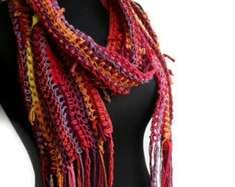 Gypsy Sunrise Vegan Scarf in Recycled Cotton Jersey and Hemp Ready to Ship