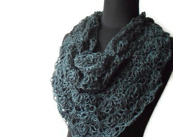 A Bit of Lace Hemp Triangle Scarf cowl neck warmer Marble Blue Eco friendly Autumn Fall Winter Fashion Made To Order