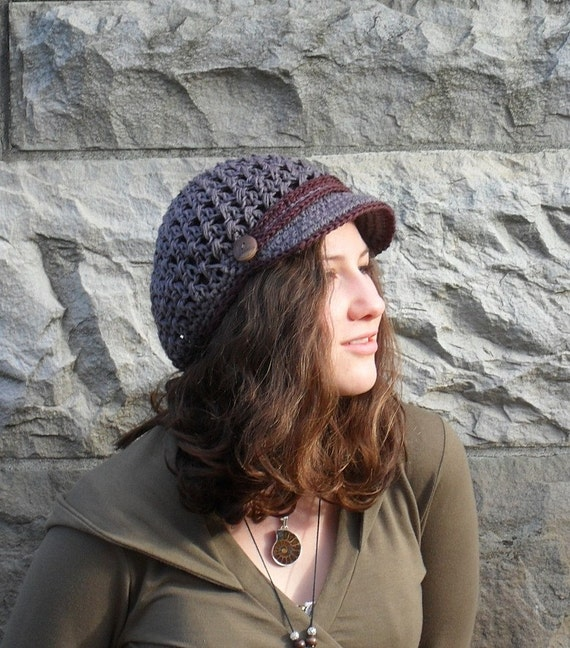 Hemp Newsboy Cap in Dark Gray and Chocolate Brown Earth Friendly Eco Friendly Earthy Hippie Boho Organic Crochet ready to ship
