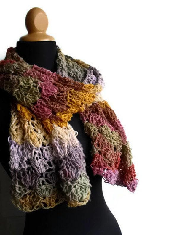 Secret Garden Shawl - Wrap Scarf Pashmina Wool Silk Cotton Noro Multicolor Lace Crocheted Handknit Ready to Ship
