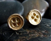 On Sale Now Gold Vermeil and Fine Silver Button Earrings