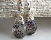 Sterling Silver Wire Wrapped Moss Amethyst Earrings