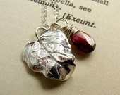 Sterlng Silver Leaf Necklace with Wire Wrapped Red Garnet
