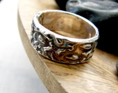 Wedding Band. Rustic Mountain Wedding Band. Sterling Silver Oxidized Band.  Hammered Nautical Wedding Ring. Handmade Patterned Ring