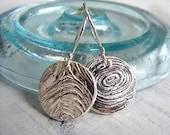 Petite Sterling Silver Wood Grain Dangle Earrings
