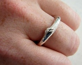 Wedding Band. Sterling Silver Textured Wedding Band. Unisex Wedding Ring. Apple Branch Twig Ring. Rustic Mountain Wedding Ring