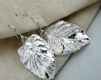 Silver Leaf Earrings. Large Leaf Earrings. Long Thin Silver Earrings. Handmade Jewelry. Sterling Silver Earrings. Dangle Leaf Earrings.