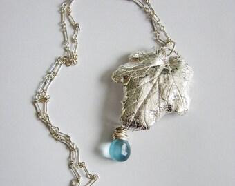 Fine Silver Leaf Necklace with Aquamarine Blue Fluorite Teardrop - Statement Pendant