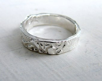 Sterling Silver Wedding Band. Rustic Wedding Band. Rustic Mountain Wedding Ring. Lace Wedding Ring. Delicate Ring. Simple Ring