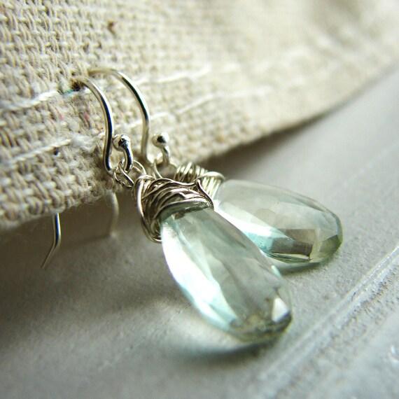 Green Gemstone Earrings. Green Fluorite Earrings. Green Teardrop Earrings. Green Dangle Earrings
