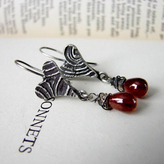 Faux Bois Heart Earrings Red Tourmaline. Heart Dangle Earrings. Red and Black Heart Earrings
