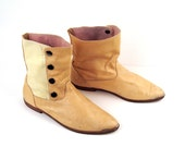 Vintage 1980s Light Tan Leather Flat Short Ankle Boots 7 1/2