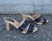Vintage 1970s Homy Ped Wood Clog High Heel Sandals size 38
