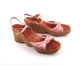 Vintage 1970s Famolare  Wedges Sandals Go there Pink Leather Women's 7
