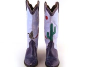 Custom Cowboy Boots Vintage 1980s Purple Inlay  Leather  size 7 - 7 1/2