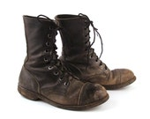 Reserved Combat Boots Distressed Vintage 1980s Black Leather  Lace Up Grunge