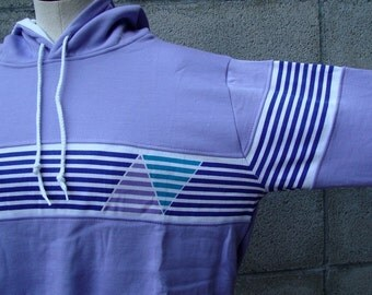 Vintage 1980s Hooded Sweatshirt San Francisco Purple with Graphic stripes Size Small
