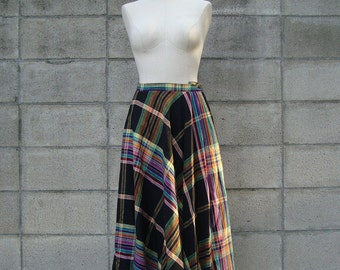 Vintage 1970s Plaid Skirt