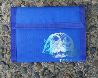 Vintage 1980s Texas Velcro Wallet Blue Rainbow Print
