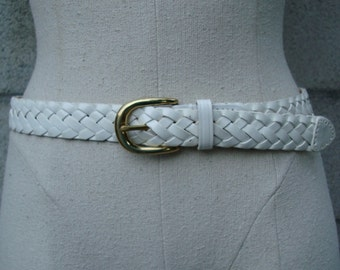 Vintage 1980s Talbots White Leather Braided Woven Belt