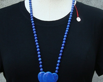 Vintage 1970s Blue Beaded Stone Heart
