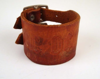 Vintage 1980s Distressed  ACDC Tooled  Leather Wristband