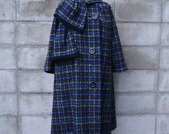 Vintage 1960s Tweed Wool Swing Coat