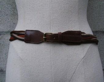 Vintage 1970s Anne Klein For Calderon Belt Leather and Rope