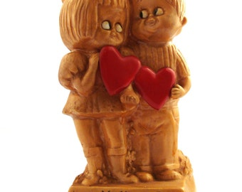 Vintage 1970s figurine Russ and Wallace Berrie Loving you Plastic statue